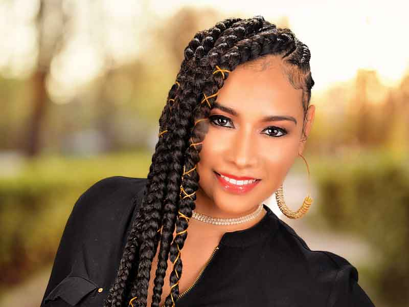 Long Sideway Sassy Braided Cornrows Hairstyle from Amber McClain
