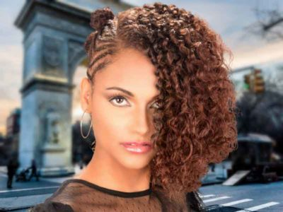 Natural Hairstyle with Braided Knots