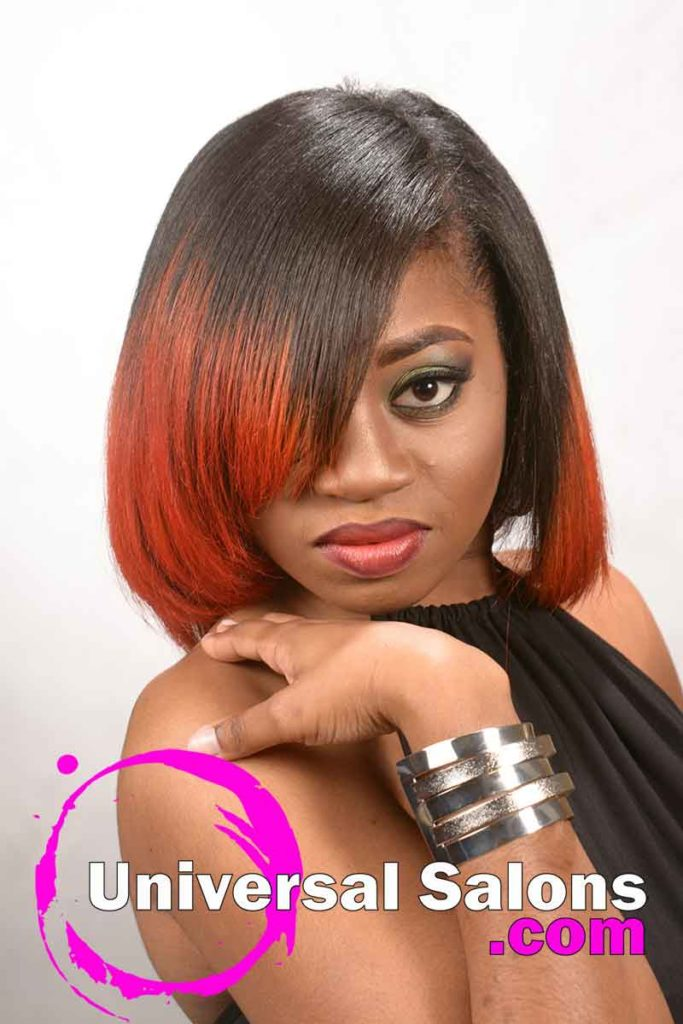 Front View: Bob Hairstyle with Fire Red Hair Color