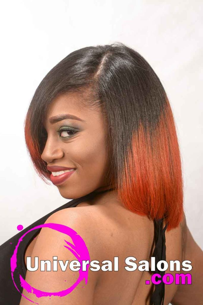 Left View: Bob Hairstyle with Fire Red Hair Color