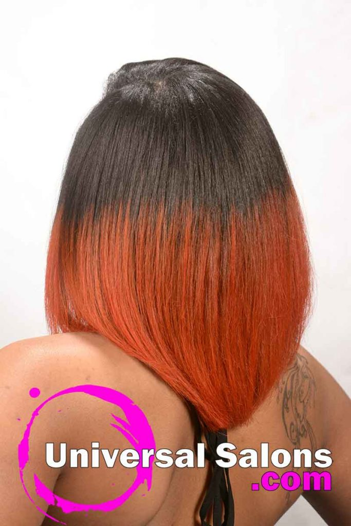 Back View: Bob Hairstyle with Fire Red Hair Color