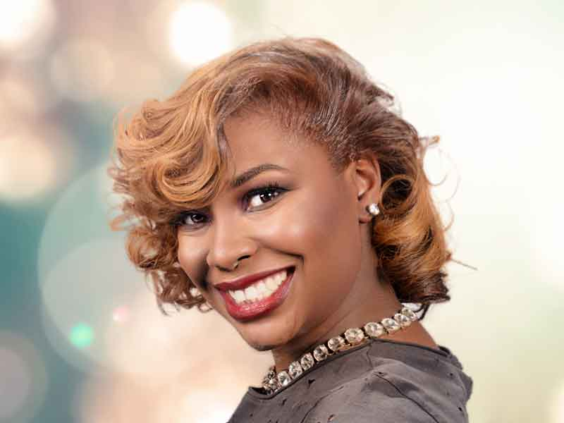 Beautiful Honey Blonde Hair Color for African American Women from Lacey Singleton