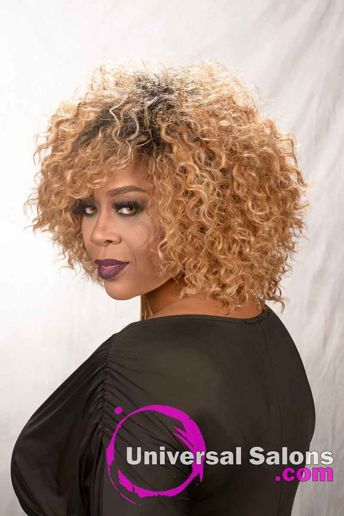 Left Side View: Blonde Curly Hairstyle for Black Women