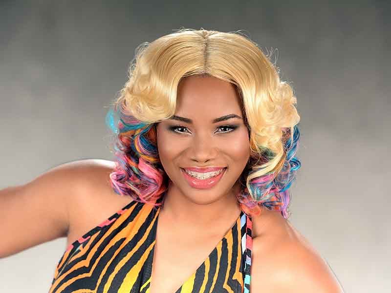 Rainbow Hair Color Quick Weave with Lace Closure Mermaid Hairstyle from Tiffany Hudson
