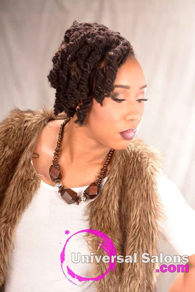 Left Side View: Fantastic Hairstyle with Loc Extensions and Barrel Twists