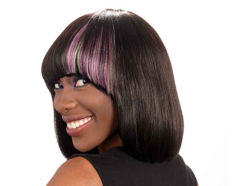 Blunt Cut Bob with Extensions and Hair Color