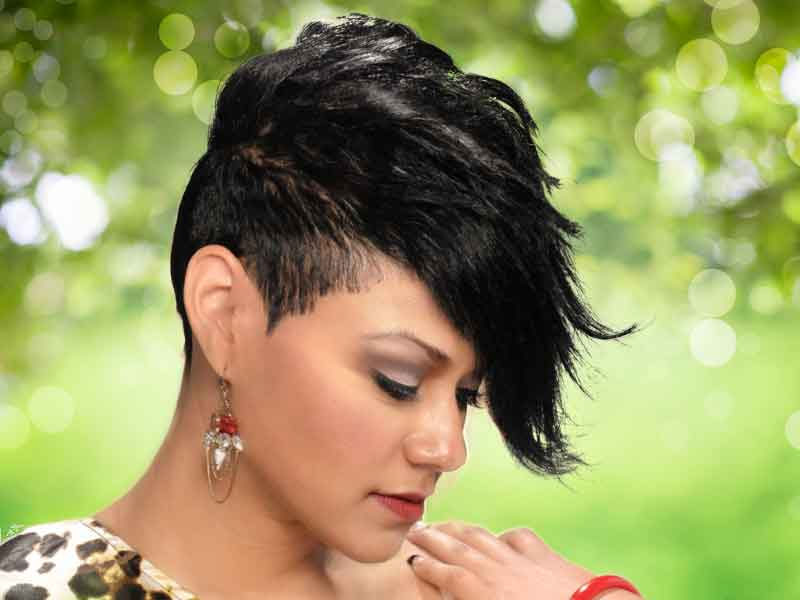 Short Hairstyle with a Funky Bang