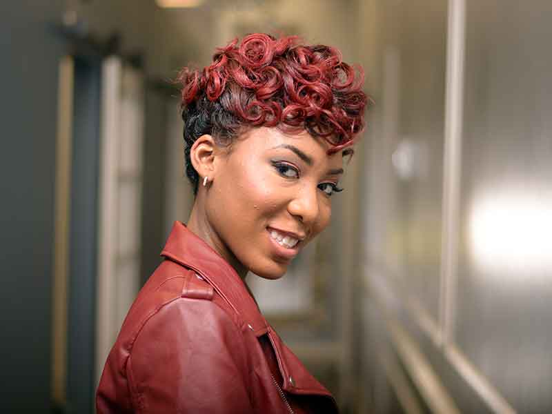 Elegant, Pixie Hairstyle with Pin Curls and Hair Color from Booh Weave