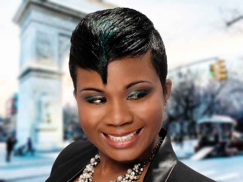 """""""Peacock' Short Hairstyle with Hair Color"""