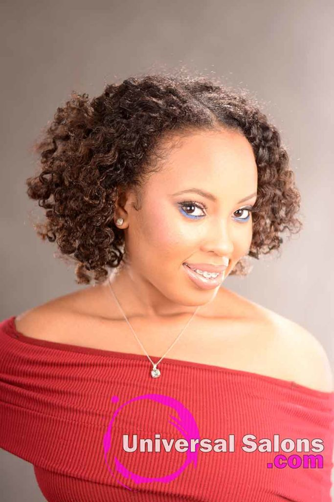 Double Flat Twist Curly Natural Hair with Highlights -2