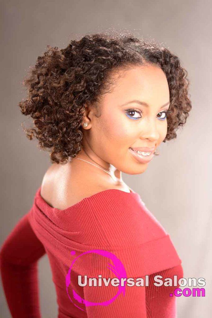 Double Flat Twist Curly Natural Hair with Highlights -5