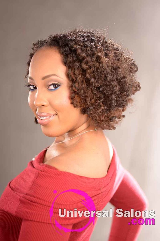 Double Flat Twist Curly Natural Hair with Highlights -7