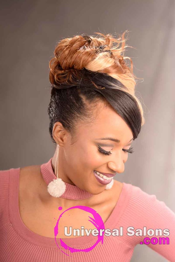 Right View: Elegant Updo Hairstyle with a Double Braid