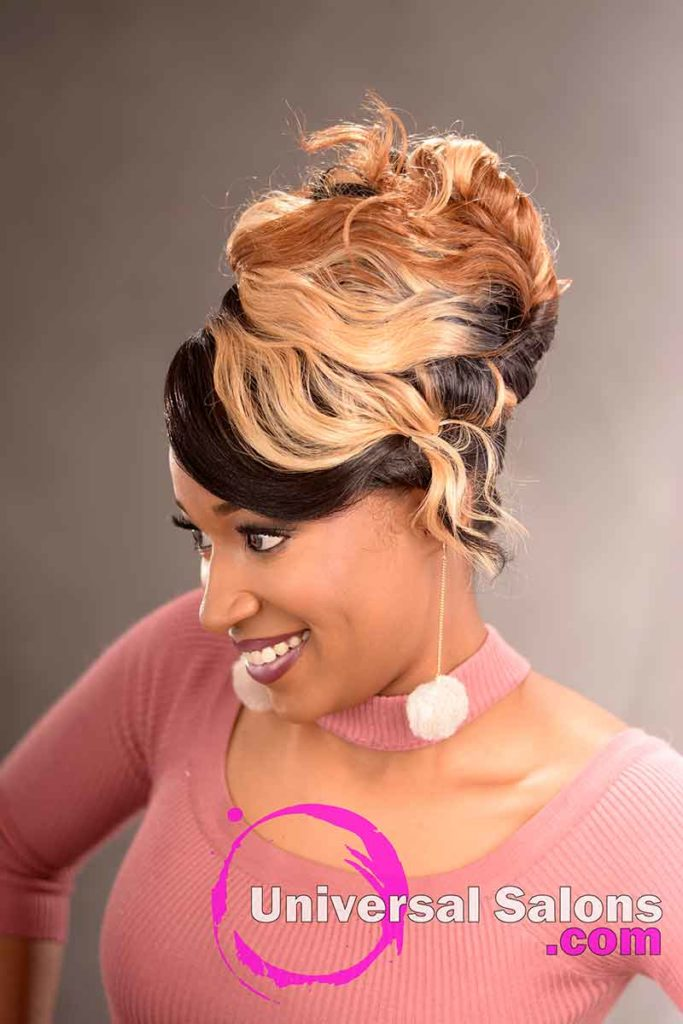 Left View: Elegant Updo Hairstyle with a Double Braid