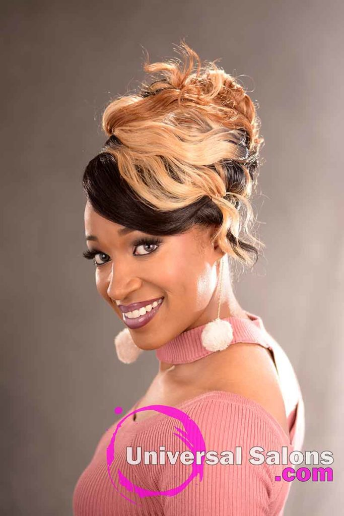 2nd Left View: Elegant Updo Hairstyle with a Double Braid