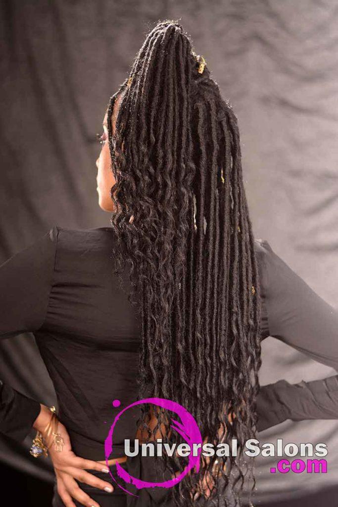 Back View: Long Ponytail Hairstyle Using Interlocking Locs Method