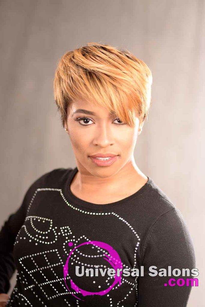 Front View: Short Hairstyle with a Custom Haircut and Ombre Color