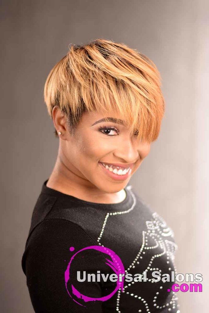 2nd Left View: Short Hairstyle with a Custom Haircut and Ombre Color