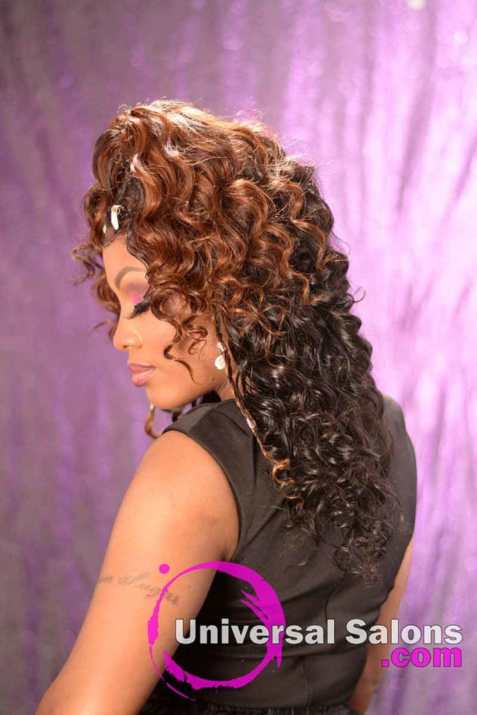 Left View: Curly Lace Wig Ponytail for Black Women