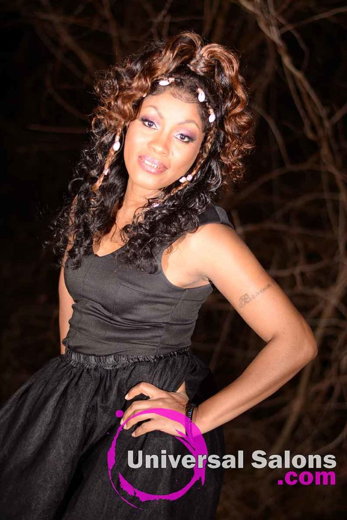 3/4 Front View: Curly Lace Wig Ponytail for Black Women