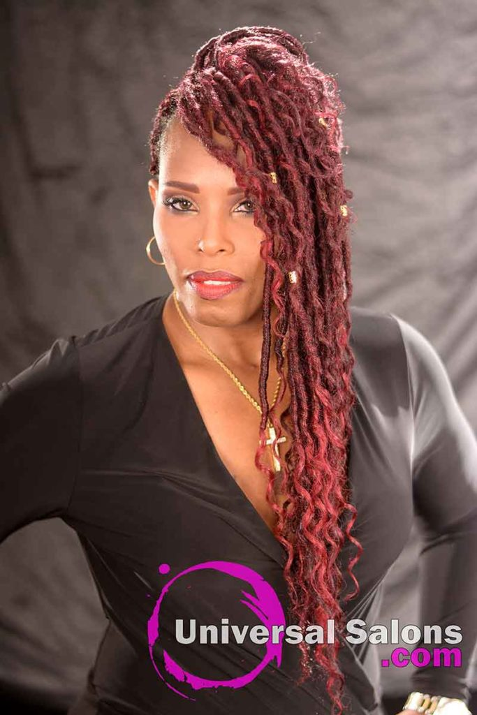Front: Amazing Goddess Locks Hairstyle with a Halo Braid and Accents