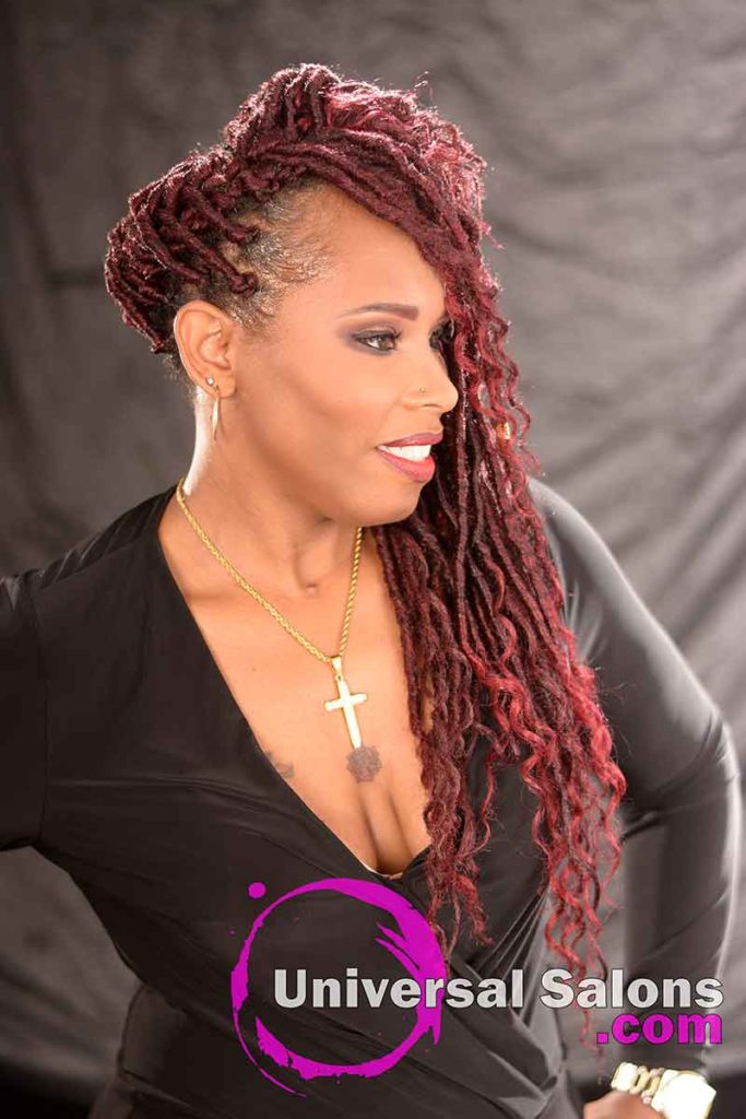 Right Side: Amazing Goddess Locks Hairstyle with a Halo Braid and Accents