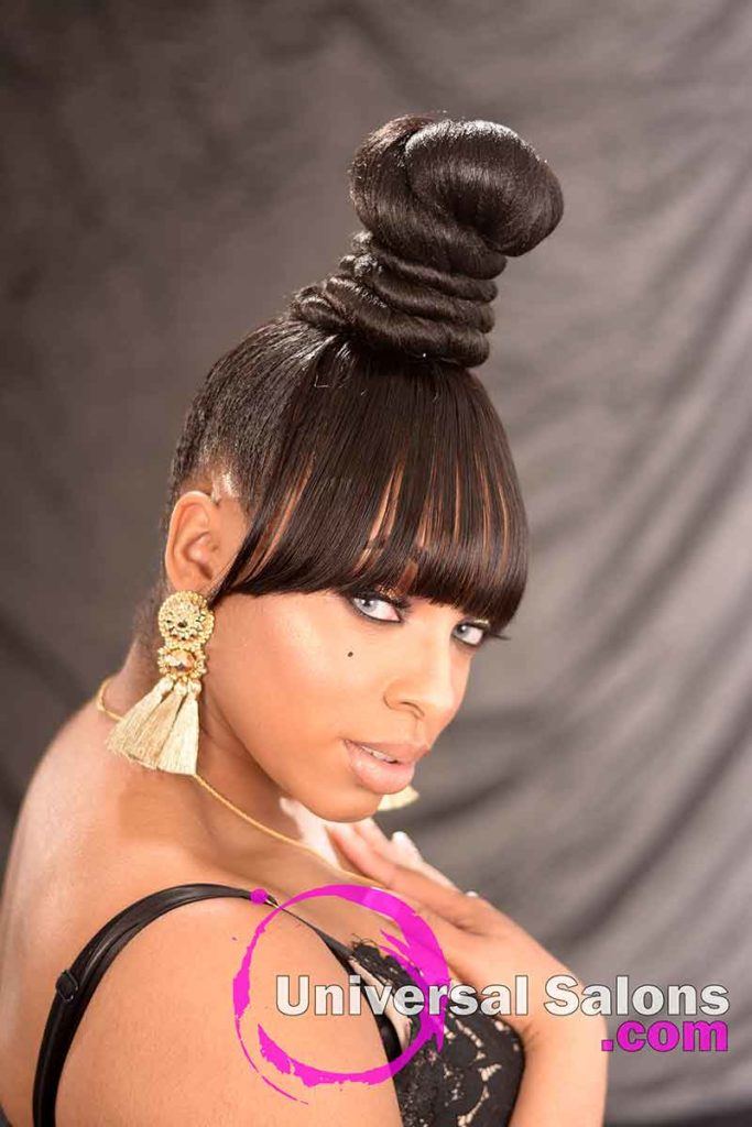 Right View: Beautiful Coiled Bun Updo Hairstyle with a Chinese Bang