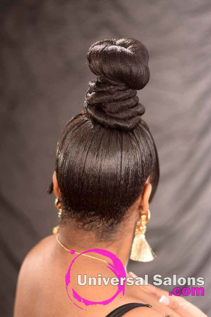 Back View: Beautiful Coiled Bun Updo Hairstyle with a Chinese Bang