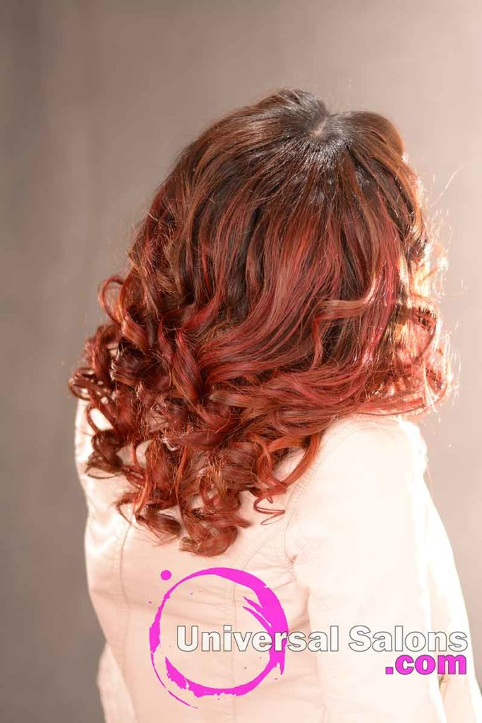 Back View: Beautiiful Long Hairstyle with Curls and Hair Color