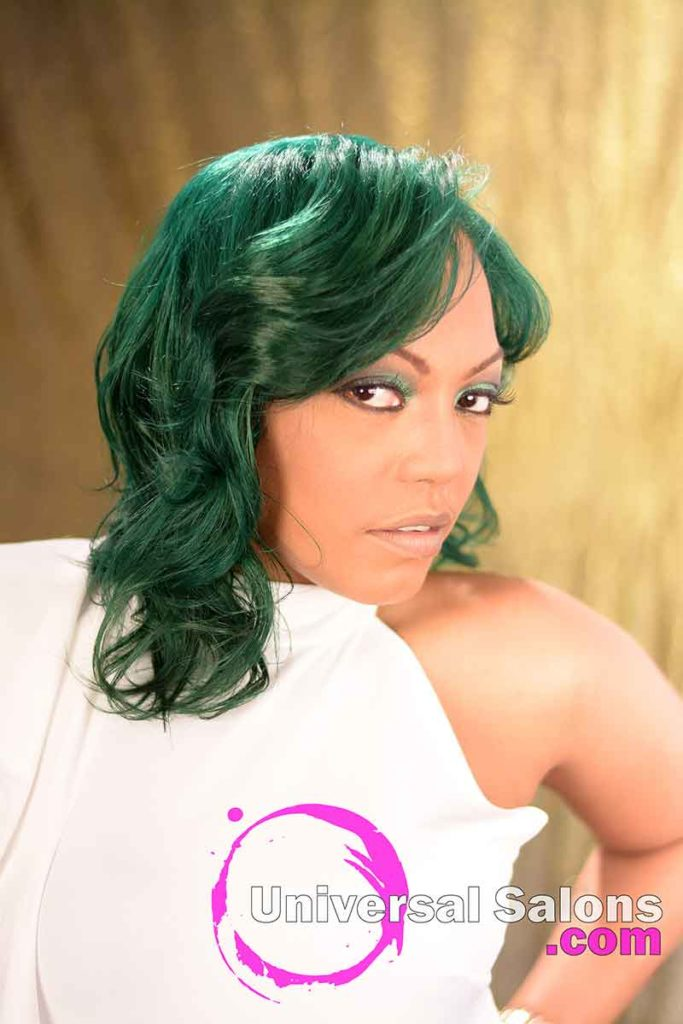 Right View: Emerald Green Hair Color on Natural Hair