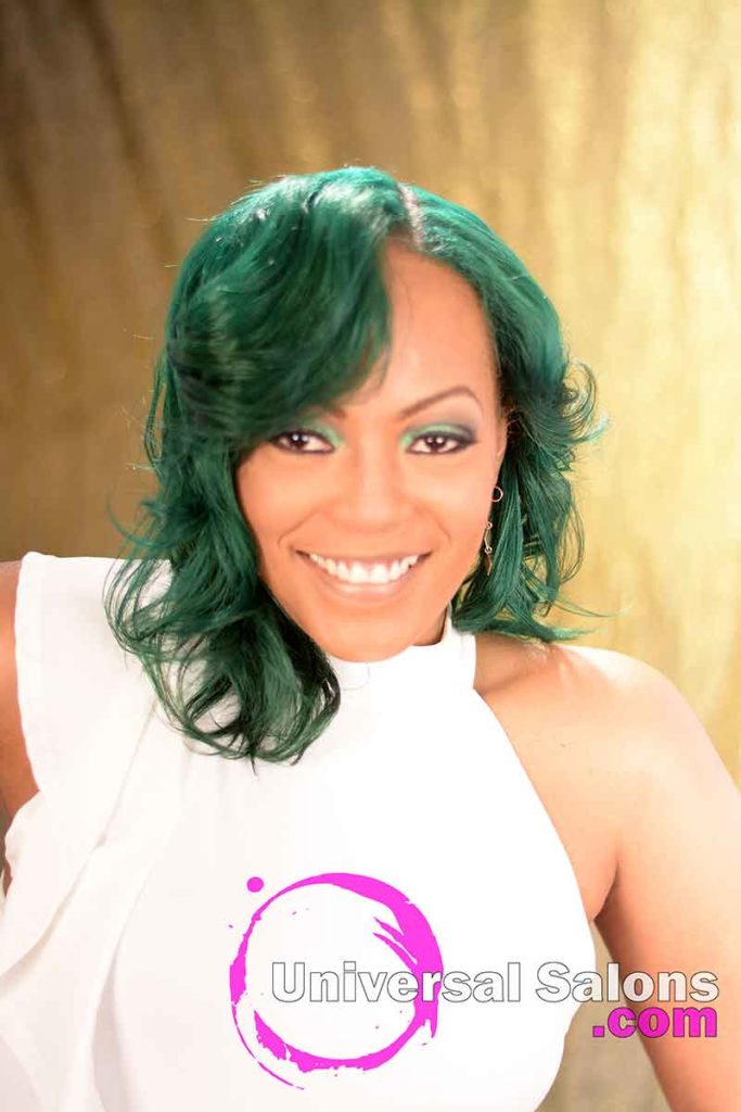 Front View: Emerald Green Hair Color on Natural Hair