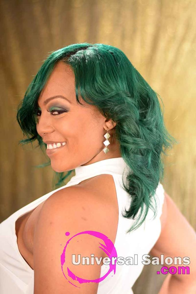 2nd Left View: Emerald Green Hair Color on Natural Hair