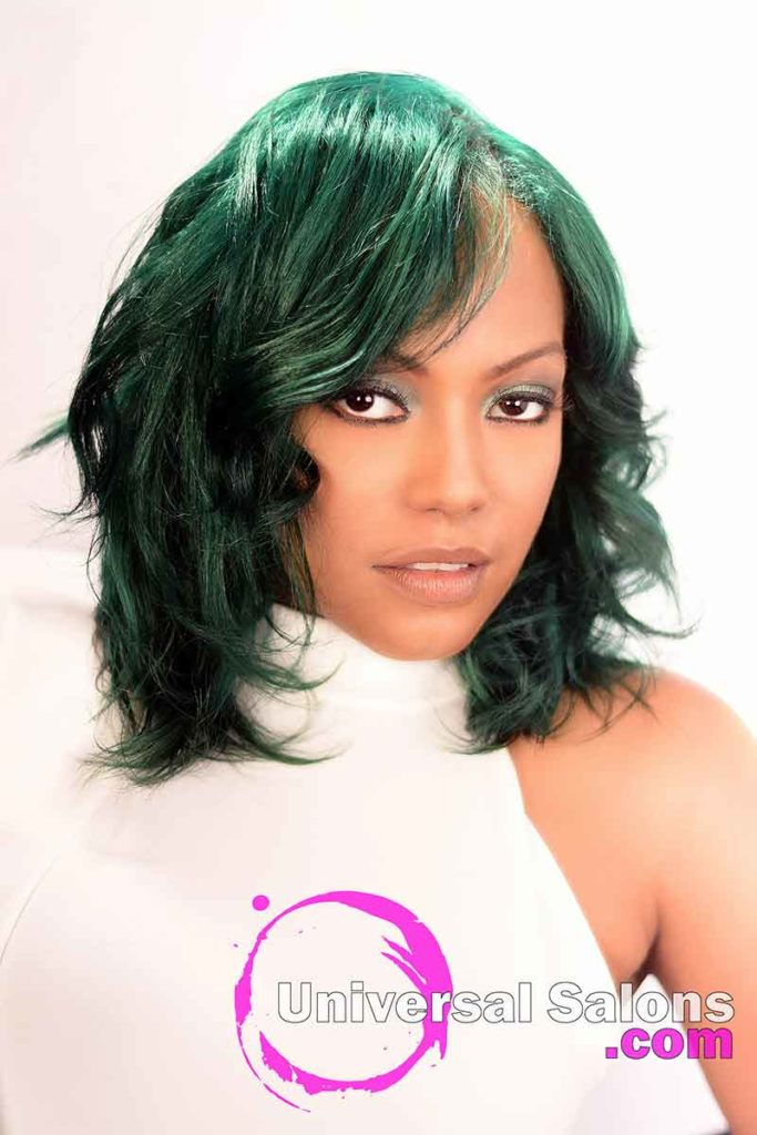 Location Front: Emerald Green Hair Color on Natural Hair