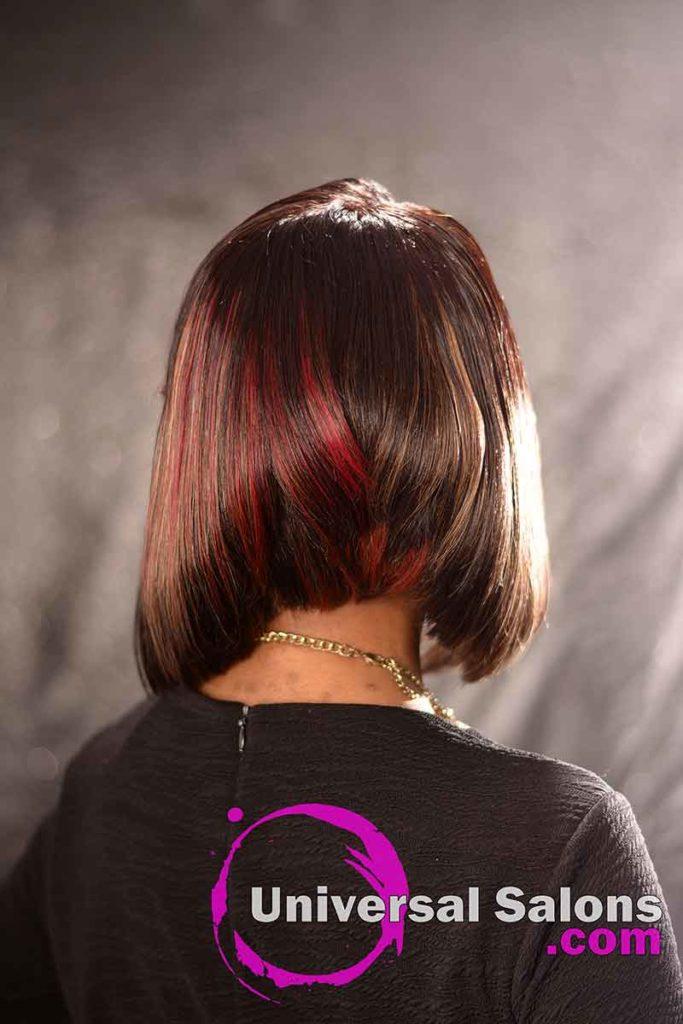 Back View: High Cut Bob Haircut with Bangs