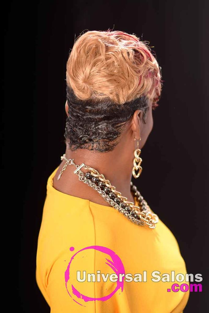 Back View; Short Hairstyle with Hair Color and Finger Waves
