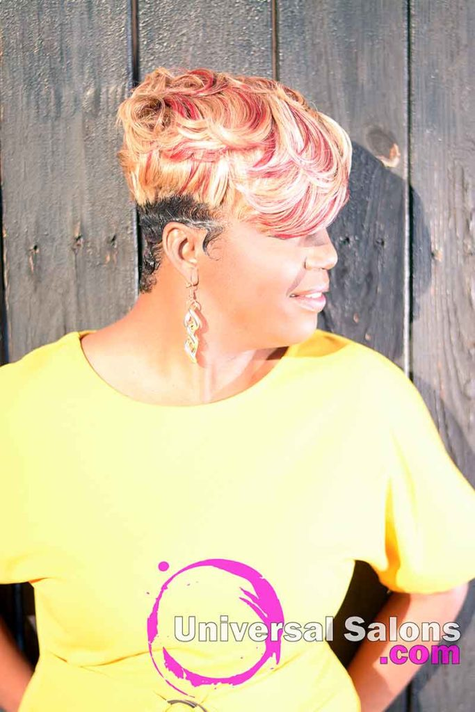 Location Right View: Short Hairstyle with Hair Color and Finger Waves