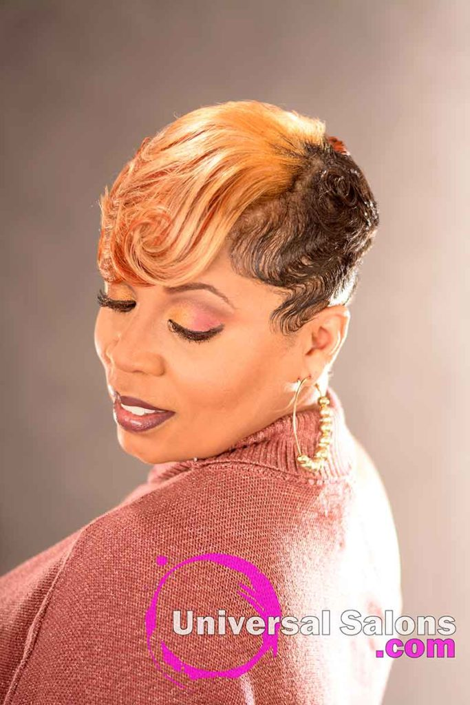 Look Down View: Stunning Short Blonde Hairstyle for Black Women