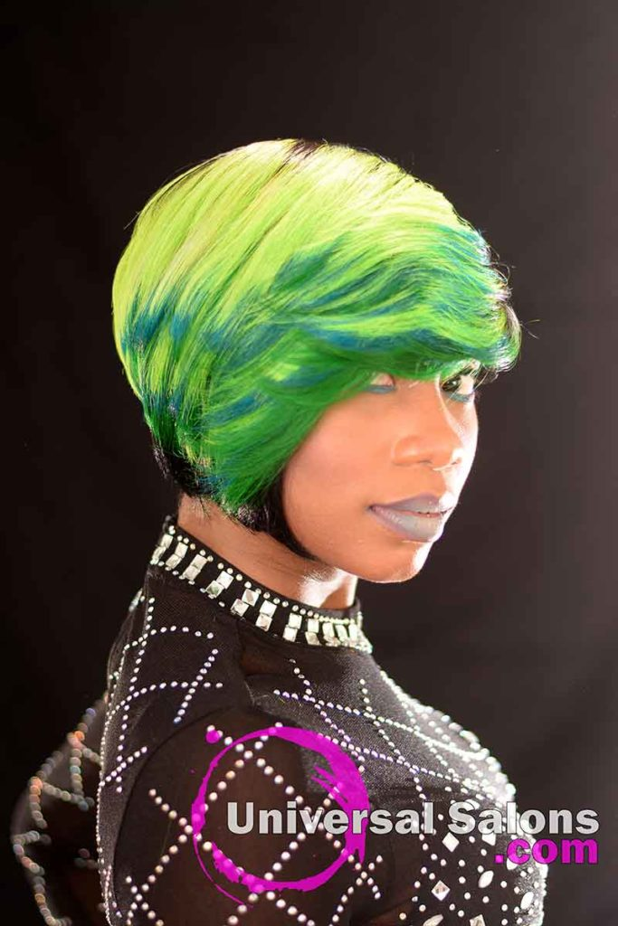 3rd Right View: Bold Lime Quick Weave Hairstyle from Constance Purnell in Columbia, SC