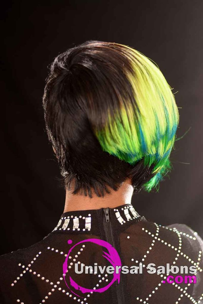 Back View: Bold Lime Quick Weave Hairstyle from Constance Purnell in Columbia, SC