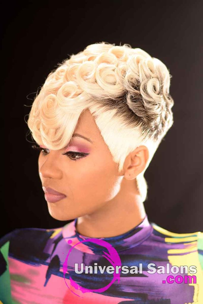 Left Front: Pin Curls Hairstyle for Black Women by Marquita Briggs in Columbia, SC