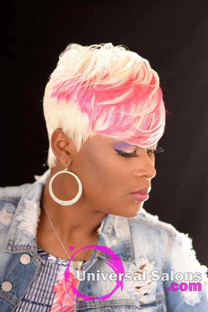 Right View: Platinum Blonde Quick Weave Hairstyle from Carla Harris in Columbia, SC