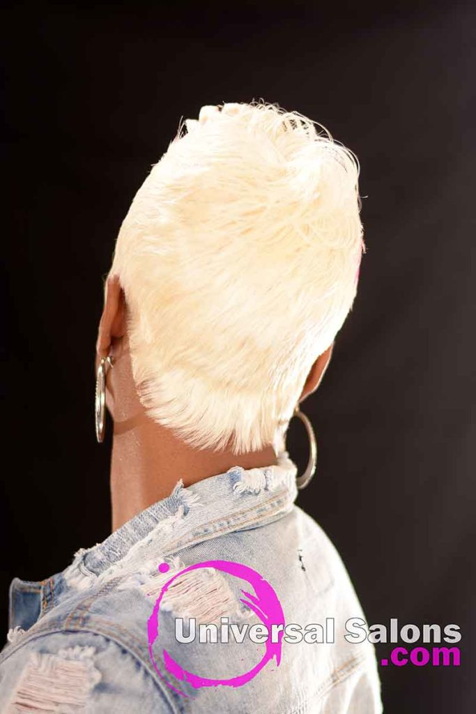 Back View: Platinum Blonde Quick Weave Hairstyle from Carla Harris in Columbia, SC