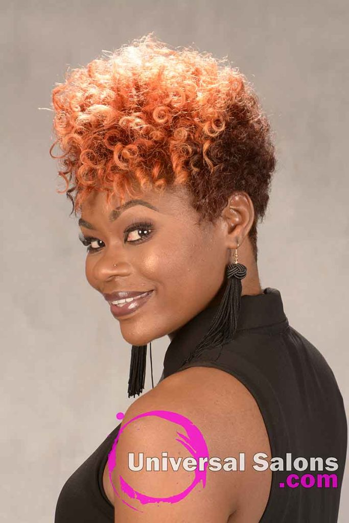 Short Natural Hairstyle with Curls and Color from Tasha Hull