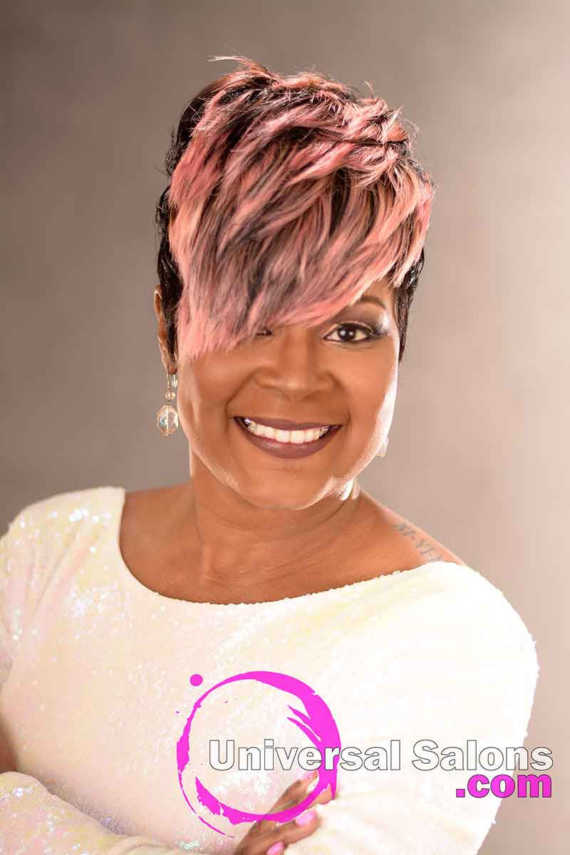 Front View: Fierce Pixie Hairstyle for Black Women from Yvette Alston in Columbia, SC