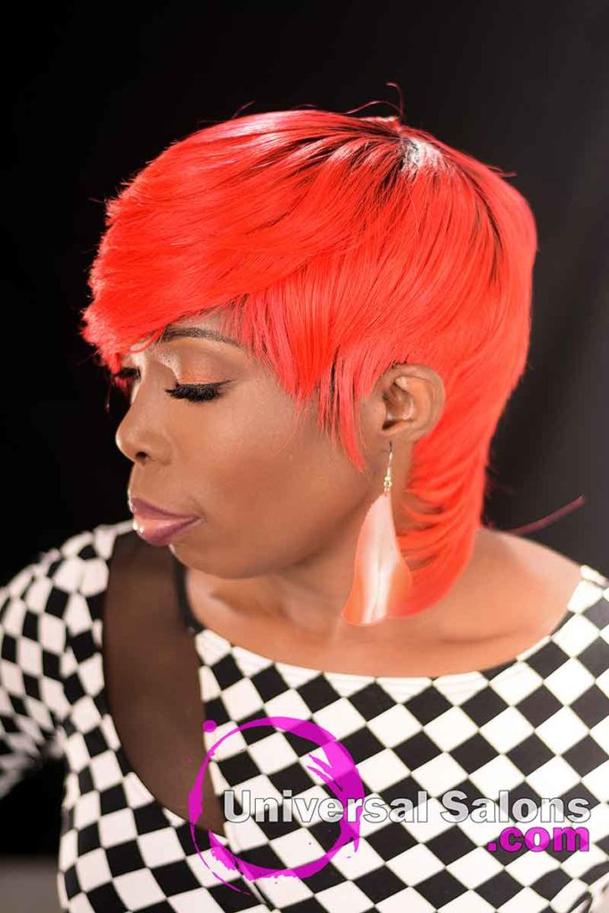 Right View: Fire Red Quick Weave Hairstyle from Yvette Alston in Columbia, SC