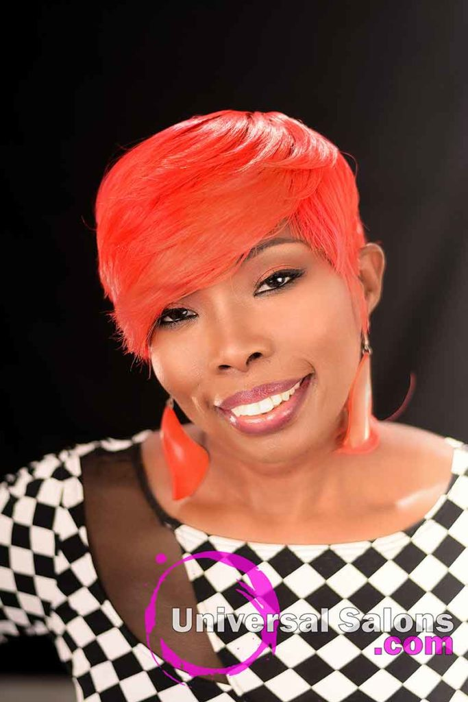 Front View: Fire Red Quick Weave Hairstyle from Yvette Alston in Columbia, SC