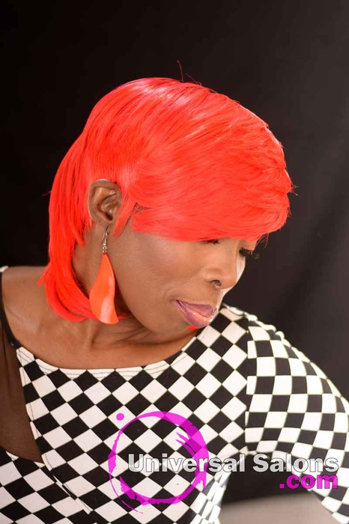 2nd Left View: Fire Red Quick Weave Hairstyle from Yvette Alston in Columbia, SC
