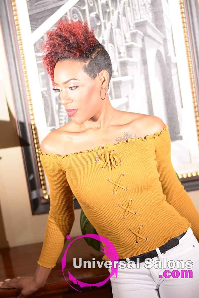 3/4 Front Left View: Hot Shaved Twist Out Hairstyle from Rasheeda Clark in Charleston, SC