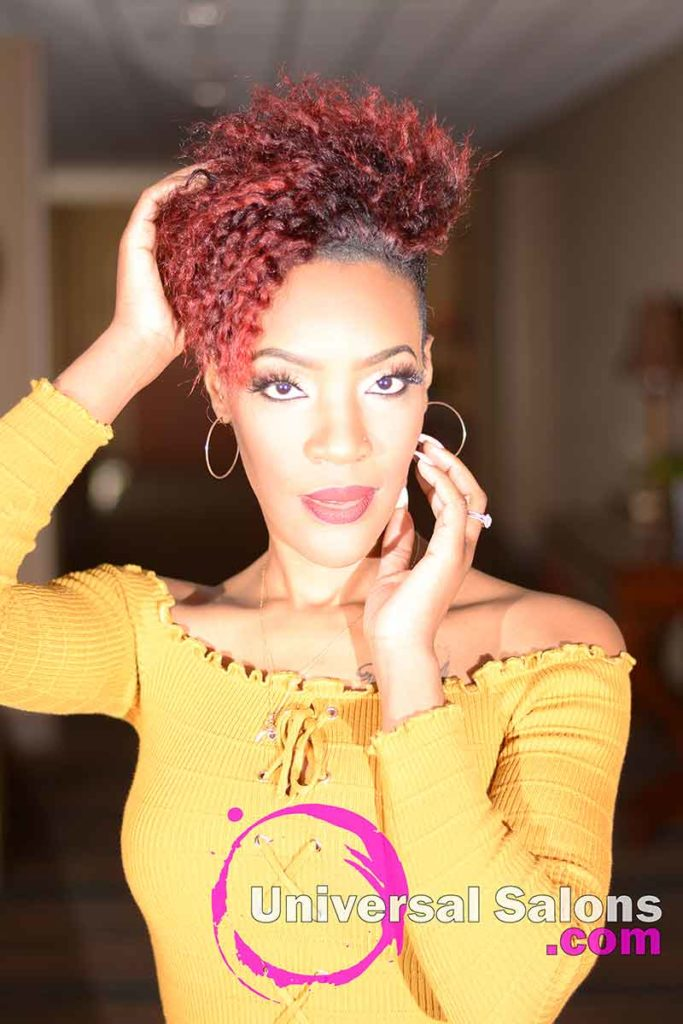 Front Hands View: Hot Shaved Twist Out Hairstyle from Rasheeda Clark in Charleston, SC
