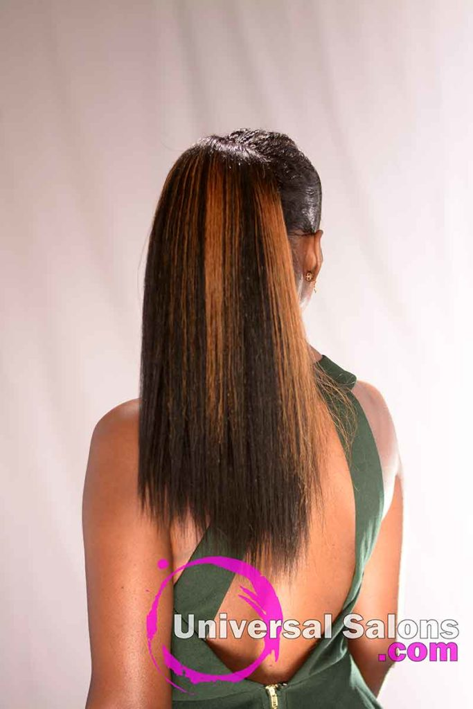 Back View: Long High Ponytail with Highlights from Nivi Grimball in Charleston, SC